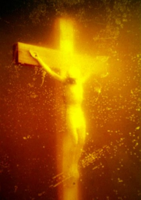 "Andres Serrano's most controversial piece titled ""Piss Christ""."