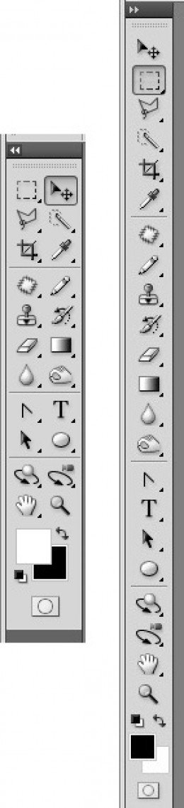 The two adjustments of the toolbar : the single-column and the double-column, using the arrow on the top of it.