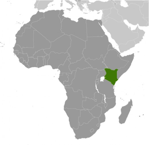 Map of Africa - Kenya in Green