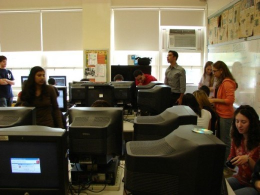 Bronx Science students working on their school newspaper.