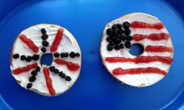 Start the patriotic holiday off with these red, white, and blue bagels.