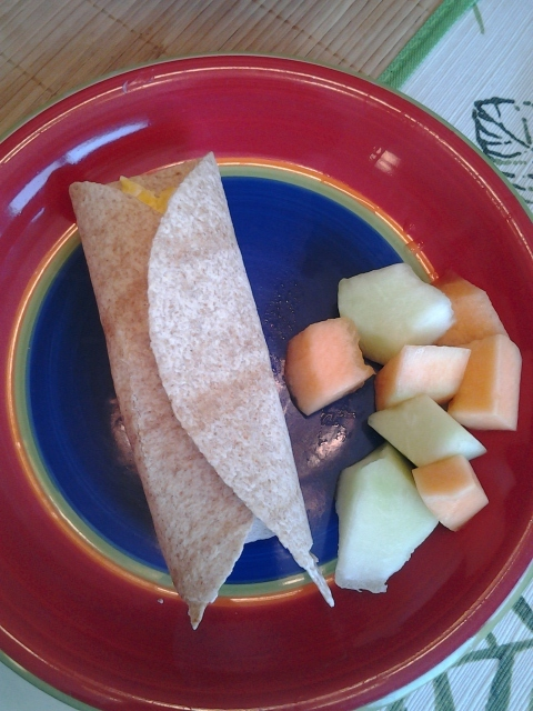Egg and Cheese Burrito with Fruit