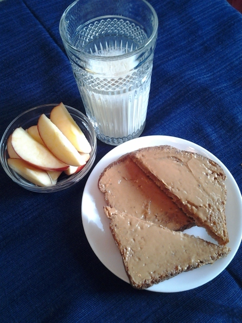 Peanut Butter Toast with Sliced Apple and Milk