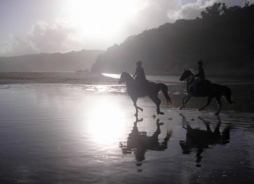 A sunset canter on Qolora beach