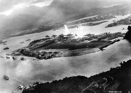 Attack on Pearl Harbor, view from a  Japanese plane.