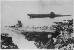 A most remarkable post-war incident was the washing up on the rocks at Falmouth, England, of two German U-boats. They were cast up but a few feet apart; both had been sunk during the war