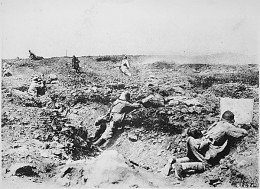 German troops fighting of a French attack during the First World War.