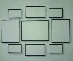 Unified groupings consist of similar colors, mats and frames.