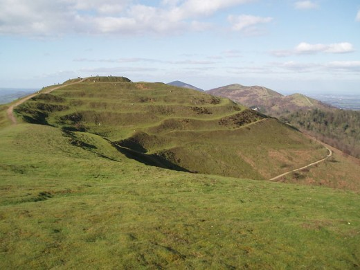 Iron age earthworks on the hillside.