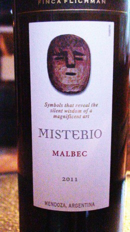 Front label of my favourite red wine.  Note: the name of the wine (Misterio) and the varietal (Malbec).  The vintage (year the wine was made) is also present as is the country of origin in this case Mendoza, Argentina.
