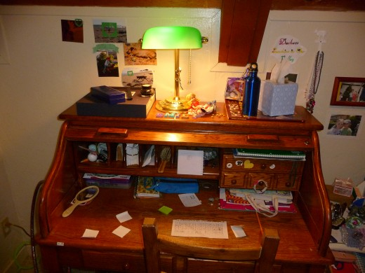 My daughter's desk, where she retreats to color and create.