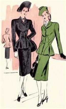Flirty ladies suits with peplums were the fashion rage in the 1940s as evidenced by this sewing pattern.