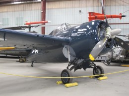 An FM-2 Wildcat. Earlier models of Wildcat fighters served as the main fighter arm of US carriers They had the goal of protecting the SDB-4 Dauntless dive bombers as well as protect their carriers from Japanese retaliation.