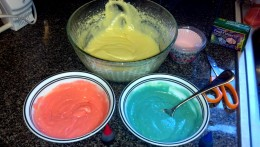 Add red and blue food coloring to cake mix.