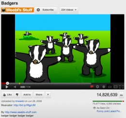 "Screen capture of ""Badger, Badger, Badger"" on Youtube"