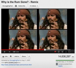 "Awesome remix from ""Pirates of the Caribbean"" of Captain Jack Sparrow demanding ""Why is he Rum Gone?"""