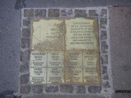 One of the bronze plaques remembering Austrian Jewish Holocaust victims, in the II. district Leopoldstadt.