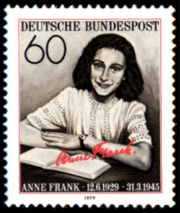 German stamp of Anne Frank