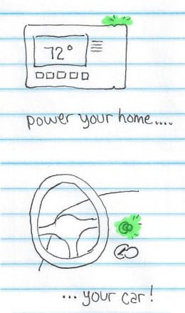 power home and car with glowing nuclear rod