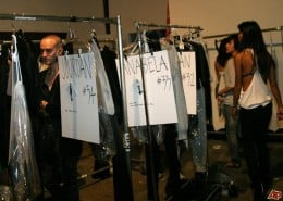 Alexander Wang backstage. Organizing garments to clarify which model is in which garment is a simple but effective way to help the show run more smoothly.