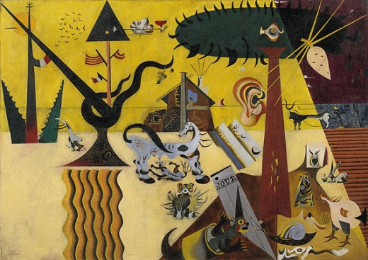 The Tilted Field 1923-24  Guggenheim Museum, New York City.  Miro's first Surrealist masterpiece.