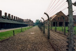 View of Auschwitz I concentration camp located near the town of Oświęcim, Poland. In the left is the prison kitchen.