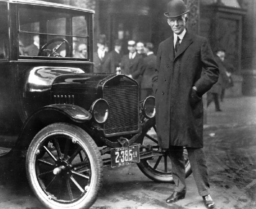 """Henry Ford (born 7/30/63 died 4/7/47) with Model T in Buffalo, NY """"If everyone is moving forward together, then success takes care of itself.""""  Henry Ford"""