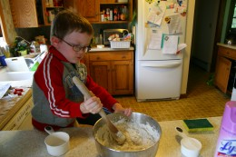 Mix in the additional 2 1/2 cups of flour, 1/2 cup at a time.