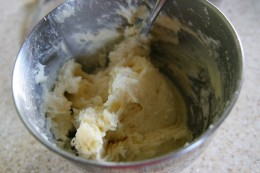Cream together 4 oz. cream cheese, 1/2 cup butter, 2 cups powdered sugar, and 1 teaspoon vanilla extract.