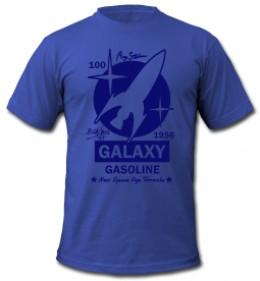 vintage galaxy gasoline space rocket on blue t shirt