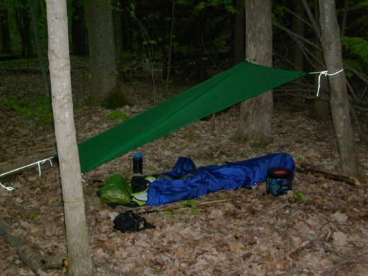 An ultralight tarp camping site with a bivy sack along the Eastside Overland Trail.
