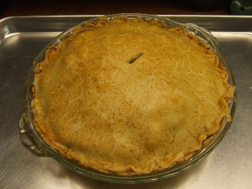 One of the pies, cooling.