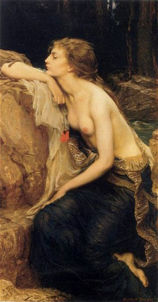 "The Lamia, painting by Herbert James Draper from 1909. The meaning of lamia likely have been ""female devourer,"" a ghost specializing in attacking children, named for a mortal archetype who had killed her own children or those of other women."