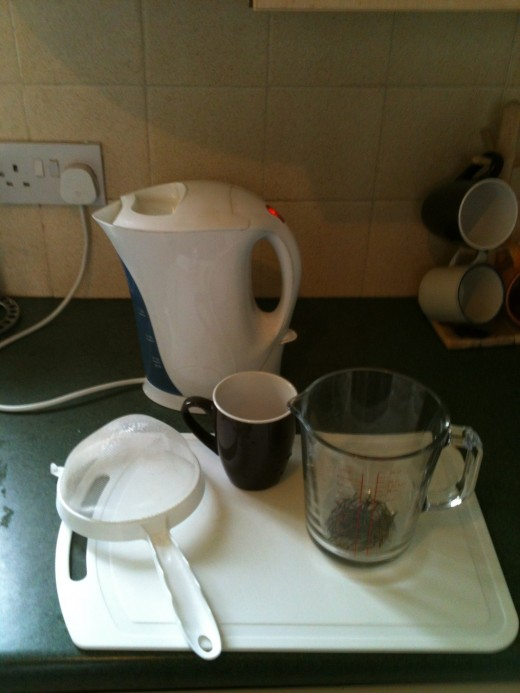 My favourite way to make green and white tea: the humble glass measuring jug.