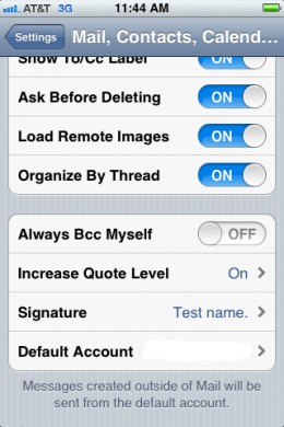 """Tap the left-pointing """"Mail"""" arrow in the upper-left corner to return to the Mail, Contacts, Calendars screen."""