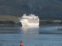 The Diamond Princess pulling into Ketchikan Alaska behind us.