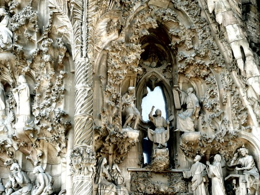 Close up of Gaudi's Nativity facade