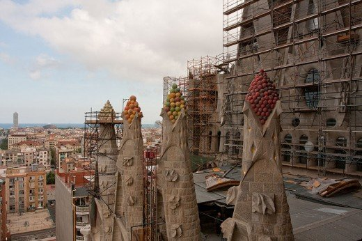 Close up of La Sagrada Familia