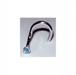 U-shaped nose ring with a lovely blue topaz stone