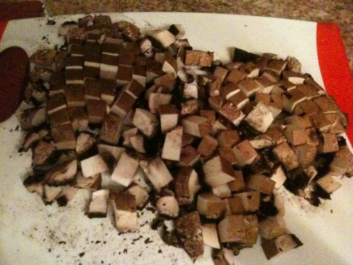 Diced Portobello mushrooms