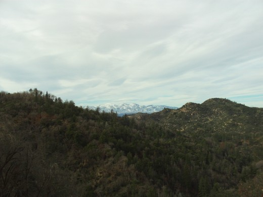 Mount Baldy is covered with snow in the distance.