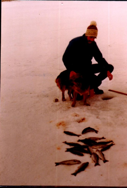 Ice fishing for rainbows.  Our dog had a nasty habit of rolling on the fish.