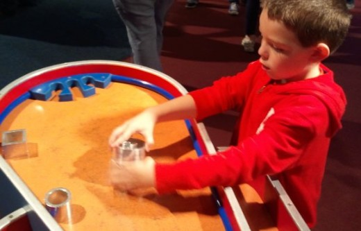 This exhibit allowed you to hear how different sounds could be made by different shapes.