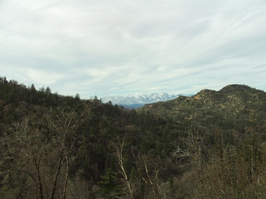 Snow blanketing Mount Baldy in the distance.