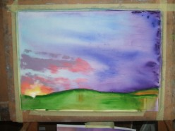 The finished watercolour underpainting with the bright highlights blocked in with pastel.