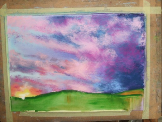 Adding pastels to the watercolour underpainting.