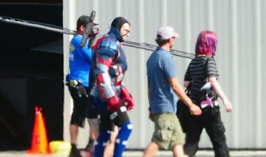 Iron Patriot suit for Iron Man 3. On Set!