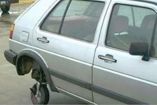 This is what you do if you cannot afford a tire