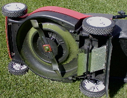 Underside of a lawn mower.