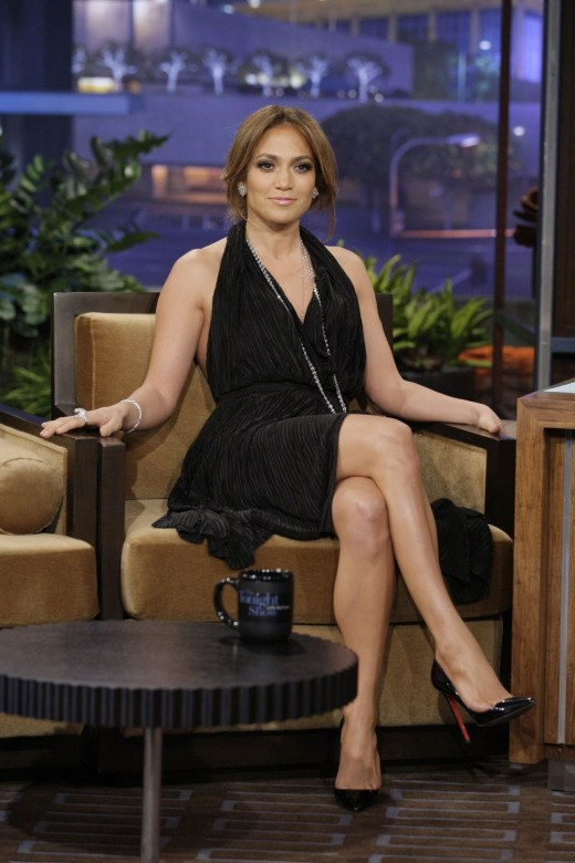 Jennifer Lopez in a slinky little black dress on the Tonight Show